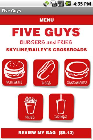 Aplicacin Android de Five Guys para saltarse las colas