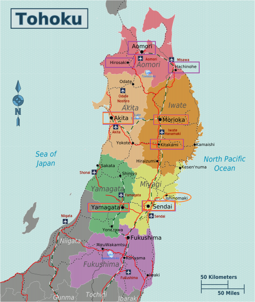 Mapa de Tohoku