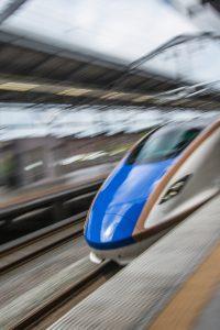 Exposición fotos de trenes japoneses